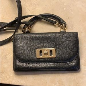 Preowned Michael Kors Blk Leather Crossbody Wallet